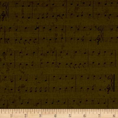 Christmas Wishes Stripe Musical Notes Olive