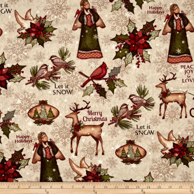 Christmas Wishes Toile Cream