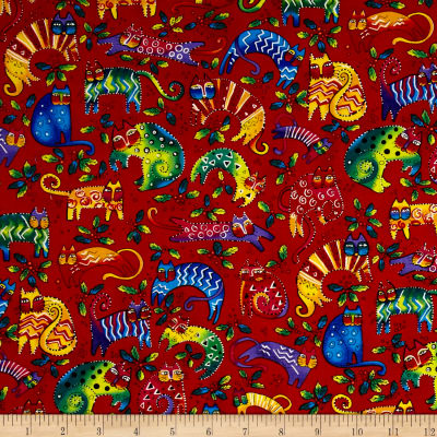 Laurel Burch Enchantment Cats & Holly Light Red