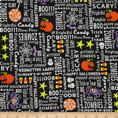 Frightful & Delightful Glow In The Dark Halloween Words Black