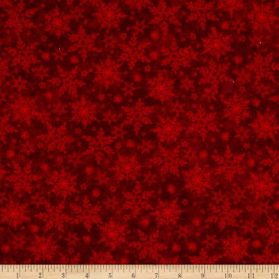 Holiday Frost Flannel Tonal Snowflake Red