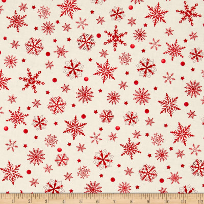 Purely Christmas Cream & Red Snowflakes