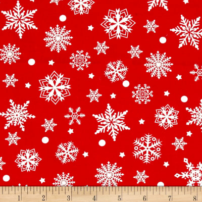 Purely Christmas Red and Cream Snowflakes