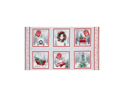 Holiday Traditions Block 24 In. Panel Red & Gray