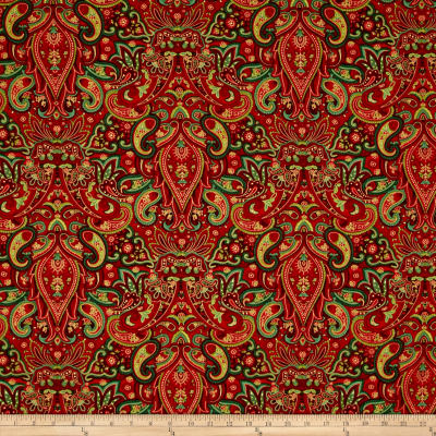 Winter Garden Metallic Paisley Damask Red