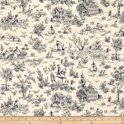 Kaufman Betsy's Basket Toile Navy