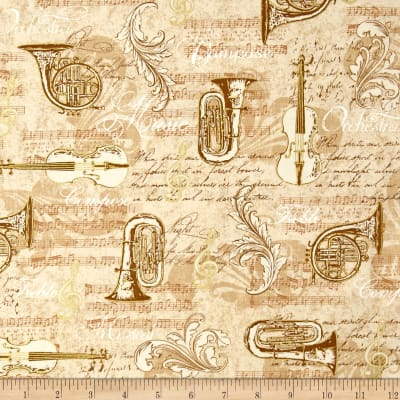 Kaufman All That Jazz Metalics Instrument Collage Tan