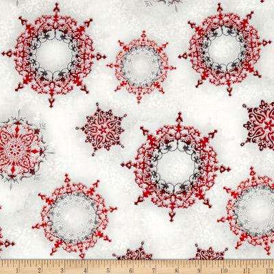 Kaufman Winter's Grandeur 4 Metallics Snowflake Ornaments Winter