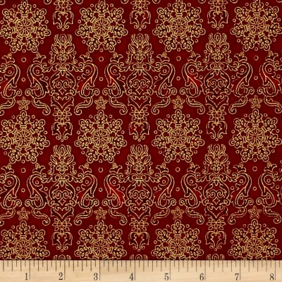 Kaufman Winter's Grandeur 4 Metallics Damask Crimson