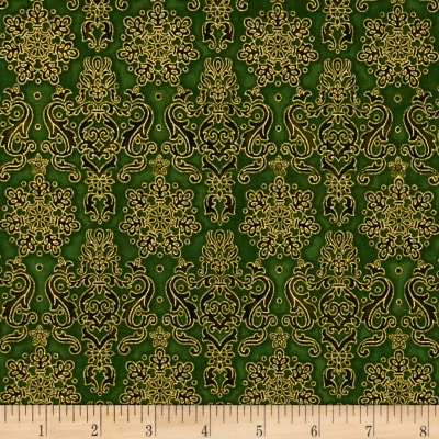 Kaufman Winter's Grandeur 4 Metallics Damask Evergreen