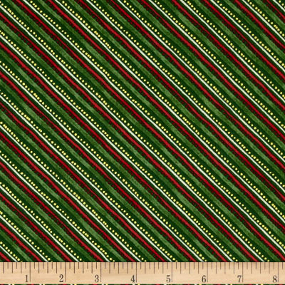 Holiday Traditions Metallic Diagonal Stripe Green