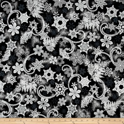 Kaufman Holiday Flourish Metallics Snowflakes Ebony