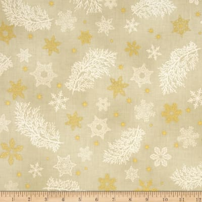 Kaufman Holiday Flourish Metallics Snowflake & Sprigs Natural