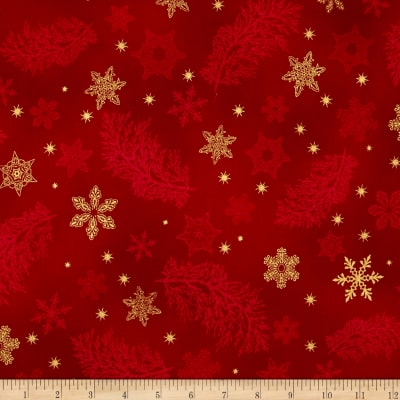 Kaufman Holiday Flourish Metallics Snowflake & Sprigs Crimson