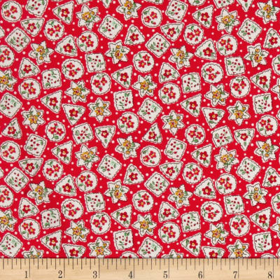Storybook Christmas Snowflakes & Flowers Red