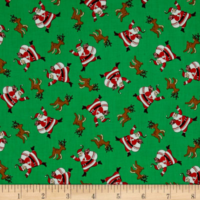 Storybook Christmas Santa Claus Green