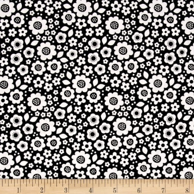 Riley Blake Dot & Dash Flowers Black