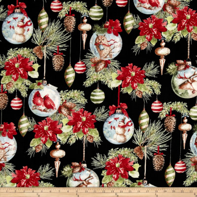 Woodland Holiday Ornaments & Flowers Black