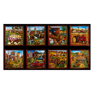"Down On The Farm 24"" Panel Blocks Black"