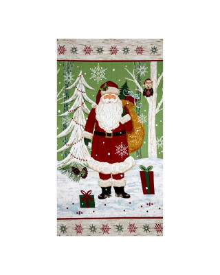 Woodland Noel Flannel Santa 24 In. Panel Green