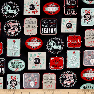 Christmas Wishes Holiday Work Labels Black