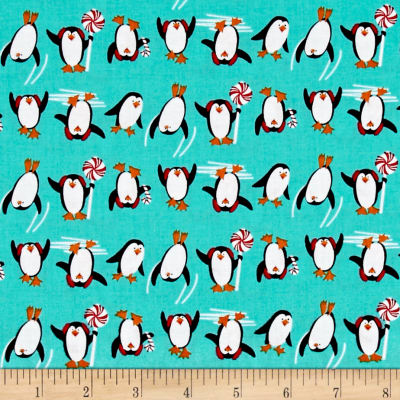 Dear Santa Penguins Teal