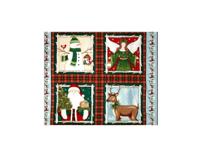 A Christmas To Remember Four Block 36 In. Panel Red