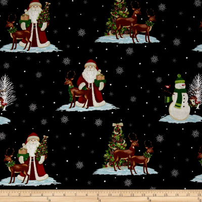 A Christmas To Remember Santa & Reindeer Black