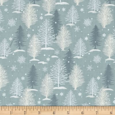 A Christmas To Remember Tree Allover Light Blue