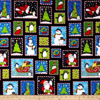 North Pole Greetings Flannel Christmas Boxes Navy