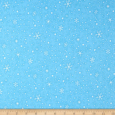 North Pole Greetings Flannel Snowflakes Light Blue