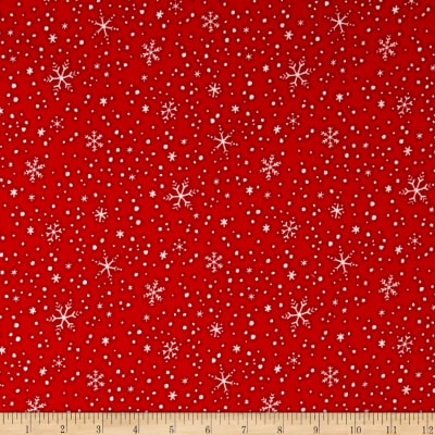 North Pole Greetings Flannel Snowflakes Red