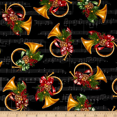Kaufman Holly Jolly Christmas 5 French Horns Black