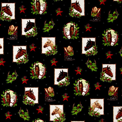 Kaufman Holly Jolly Christmas 5 Cowboy Collage Black