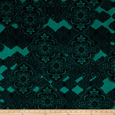 Stretch ITY Knit Damask Print Jade/Black