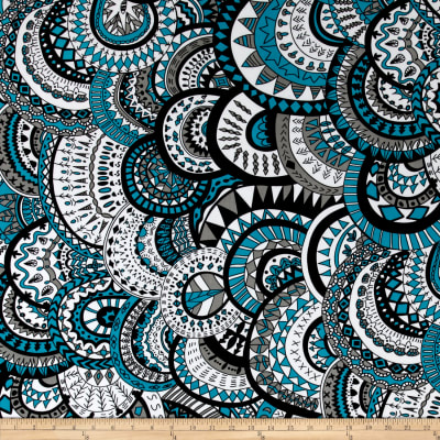 Stretch ITY Knit Medallion Print Turquoise