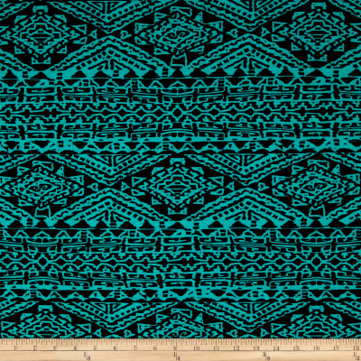 Stretch ITY Knit Aztec Print Jade/Black