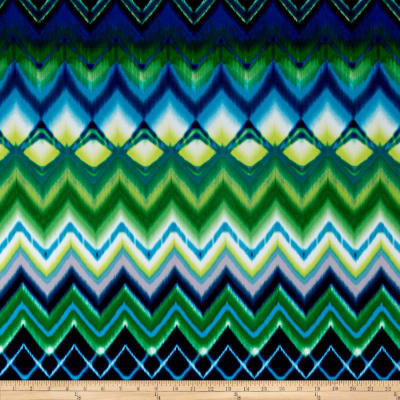 Stretch ITY Knit Abstract Chevron Print Blue/Green