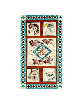 "Spirit Of The Buffalo 23"" Panel Turquoise"