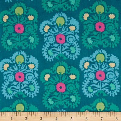 Amy Butler Dream Weaver Voile Gypsy Embroidery Teal