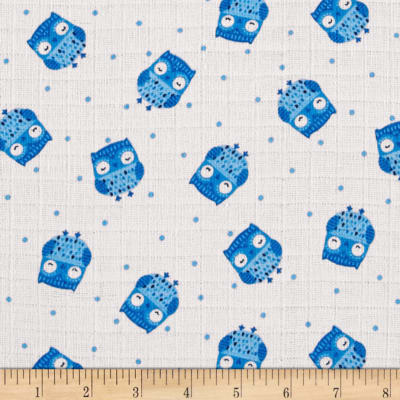 Baby Love Double Gauze Owls Blue