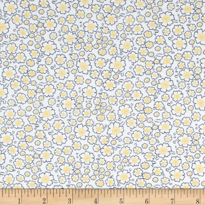 Telio Morocco Blues Stretch Poplin Popcorn Floral Print Yellow