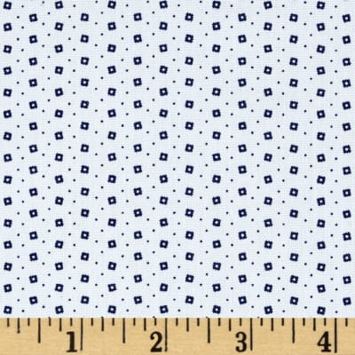 Telio Morocco Blues Stretch Poplin Square Dot Navy/White
