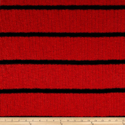 Designer Sweater Knit  Stripe Red Navy