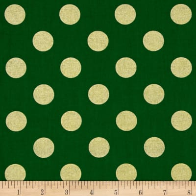 Michael Miller Holiday Glitz Quarter Dot Spearmint Metallic