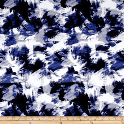 Telio Bloom Stretch Cotton Sateen Brush Strokes Print Blue