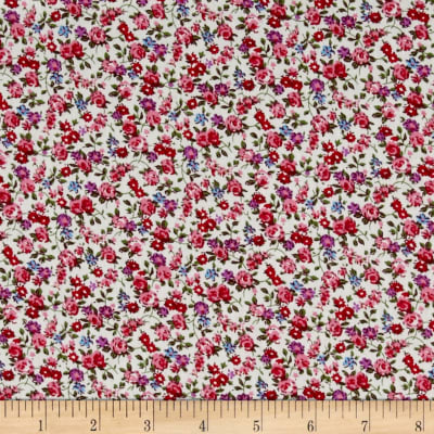 Telio Hampton Court Cotton Poplin Floral Print Fuschia