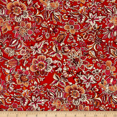 Telio Hampton Court Cotton Poplin Floral Print Red