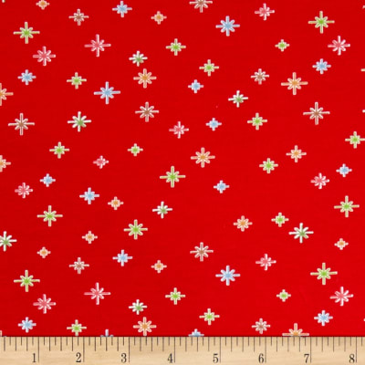Riley Blake Cotton  Jersey Knit Cozy Christmas Sparkle Red