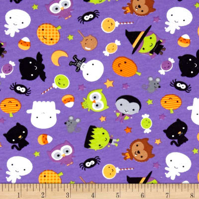 Riley Blake Cotton Jersey Knit Ghouls Main Purple